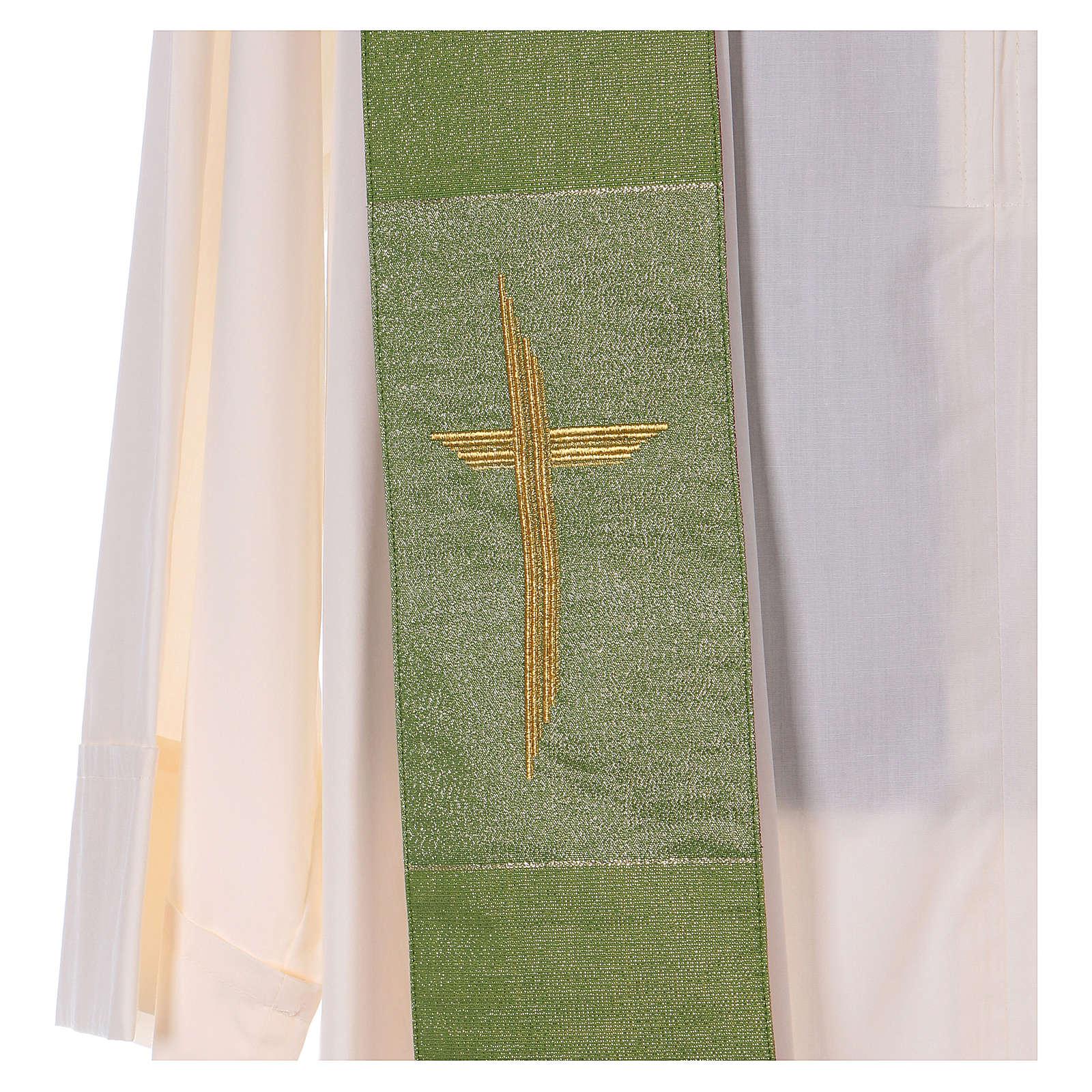 Stola reversibile 85% lana 15% lurex con croce dorata 4