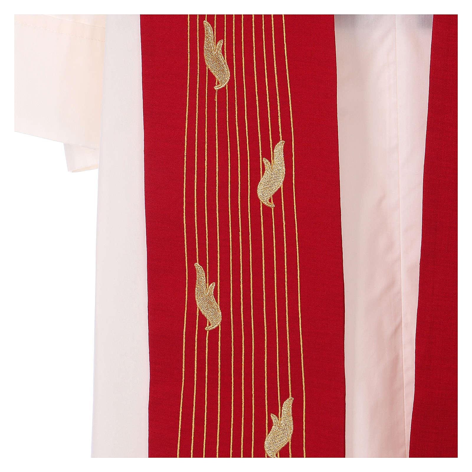 Étole rouge Saint Esprit 100% polyester 4