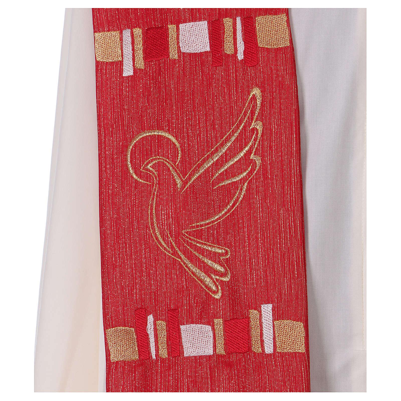 Étole rouge colombe et filaments dorés 100% polyester 4
