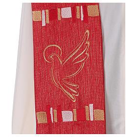 Étole rouge colombe et filaments dorés 100% polyester s2