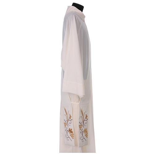 Étole diaconale ivoire grappes raisin et épi 80% polyester 20% laine 3