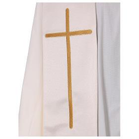Étole ivoire avec colombes et coeur doré 100% polyester s2