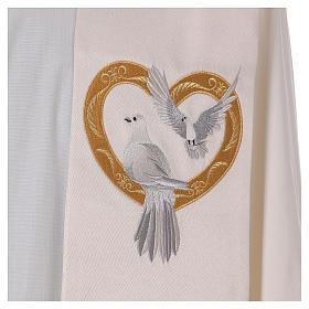 Étole ivoire avec colombes et coeur doré 100% polyester s3