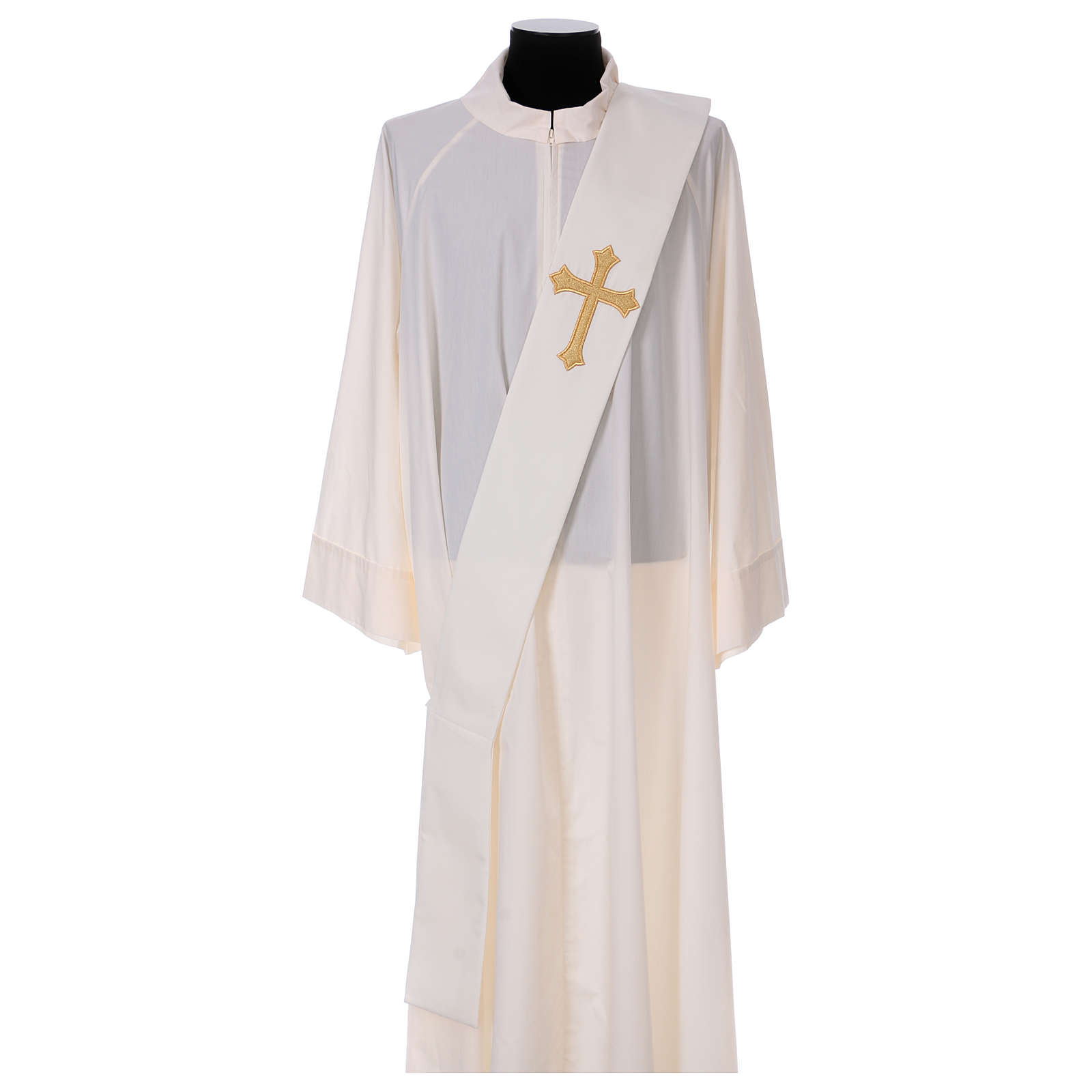 Étole diaconale ivoire croix dorée en relief 80% polyester 20% laine 4