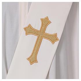 Étole diaconale ivoire croix dorée en relief 80% polyester 20% laine s2