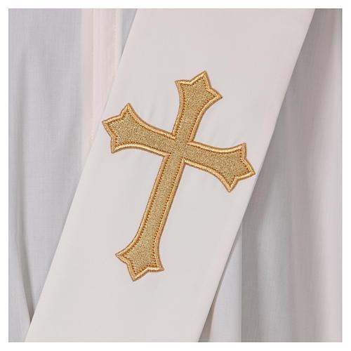 Étole diaconale ivoire croix dorée en relief 80% polyester 20% laine 2