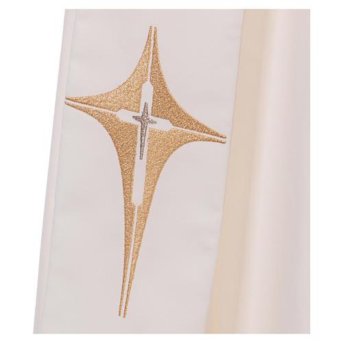 Stola diaconale avorio croce e stella 80% poliestere 20% lana 2