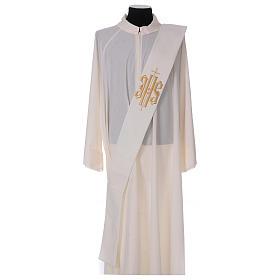 Étole diaconale laine polyester ivoire avec croix et inscription IHS dorée en relief s1