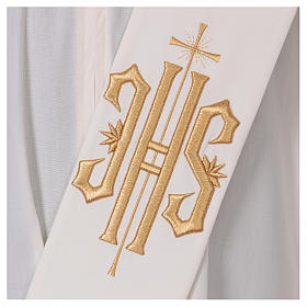 Étole diaconale laine polyester ivoire avec croix et inscription IHS dorée en relief s2