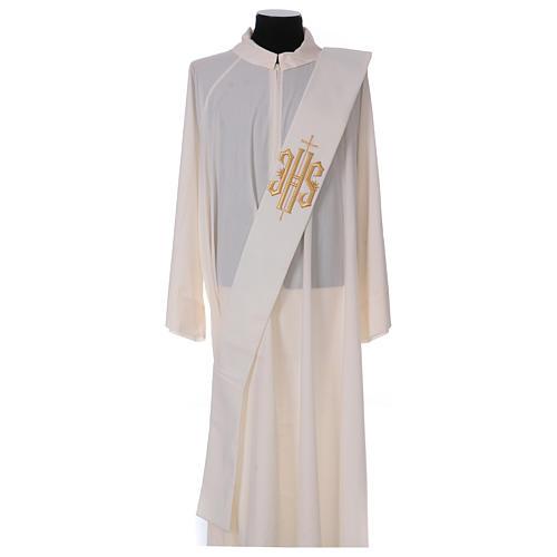 Étole diaconale laine polyester ivoire avec croix et inscription IHS dorée en relief 1