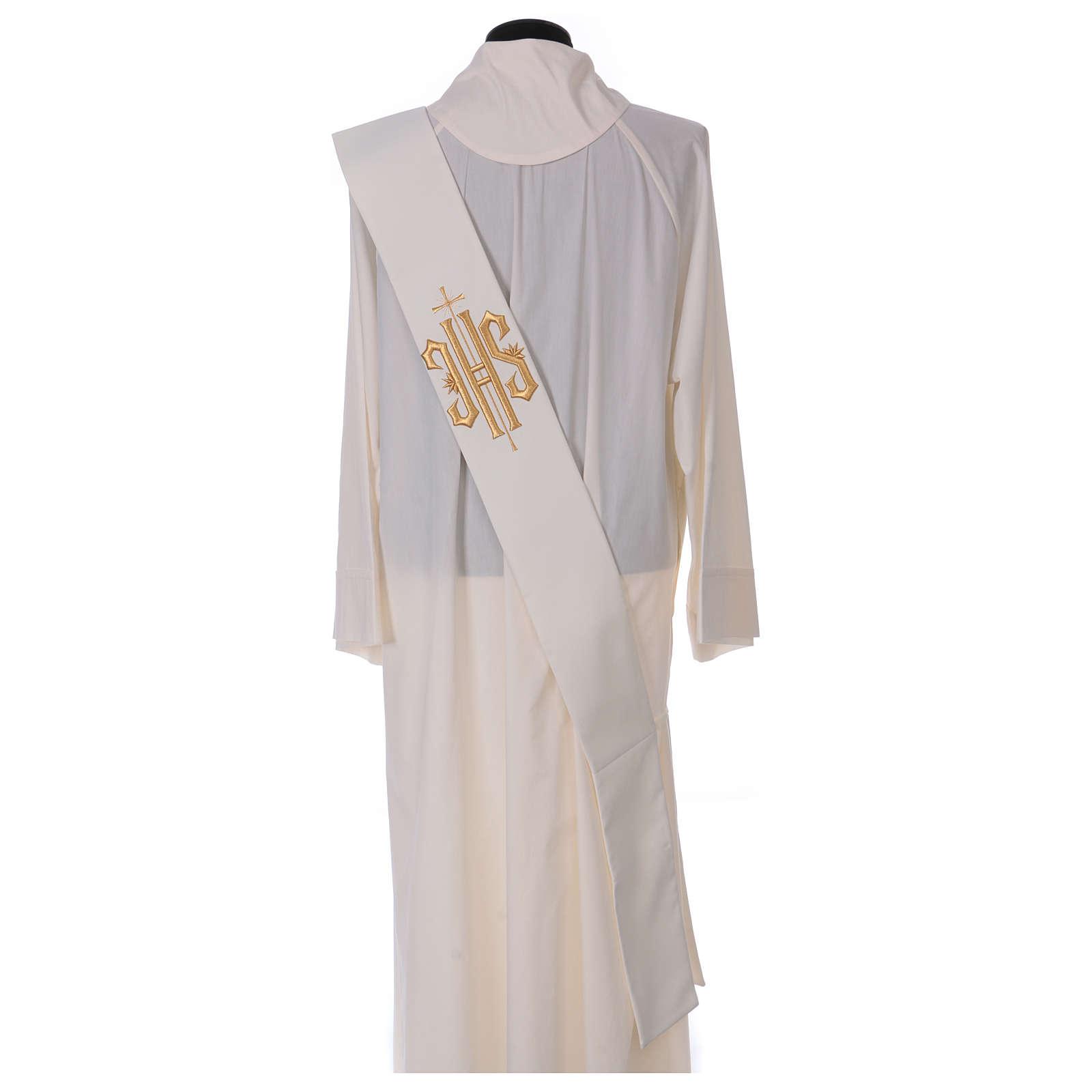 Stola diaconale lana poli avorio con croce e scritta IHS dorata in rilievo  4