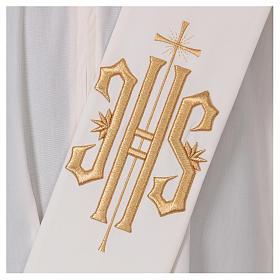 Stola diaconale lana poli avorio con croce e scritta IHS dorata in rilievo