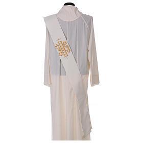 Stola diaconale lana poli avorio con croce e scritta IHS dorata in rilievo  s4