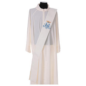 Diaconal stole, ivory colour with Marian symbol decoration 80% polyester 20% wool s1