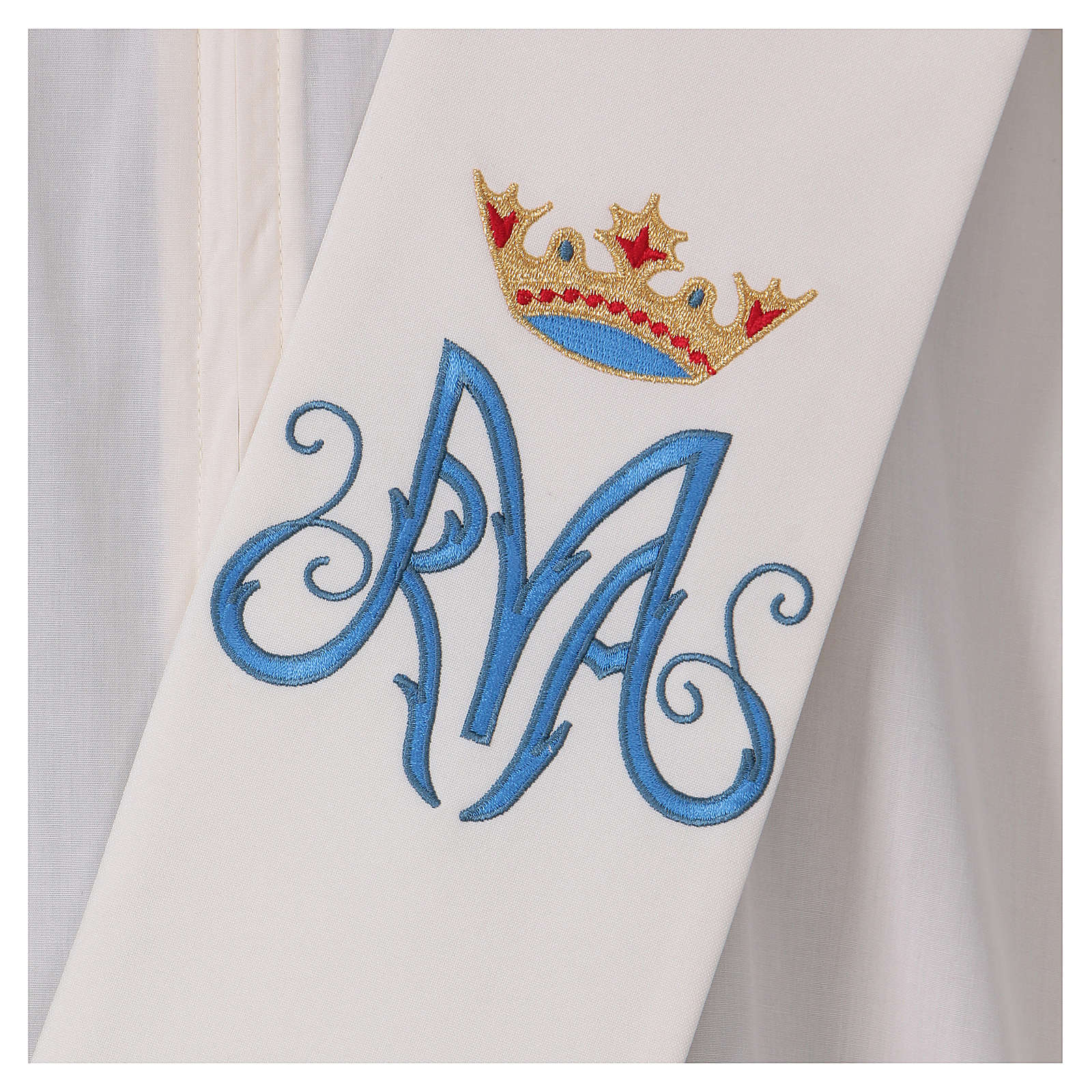 Estola diaconal marfil símbolo mariano con corona 80% poliéster 20% lana 4