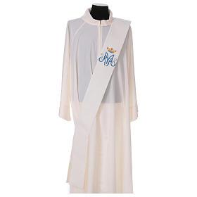 Estola diaconal marfil símbolo mariano con corona 80% poliéster 20% lana s1