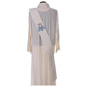 Estola diaconal marfil símbolo mariano con corona 80% poliéster 20% lana s4