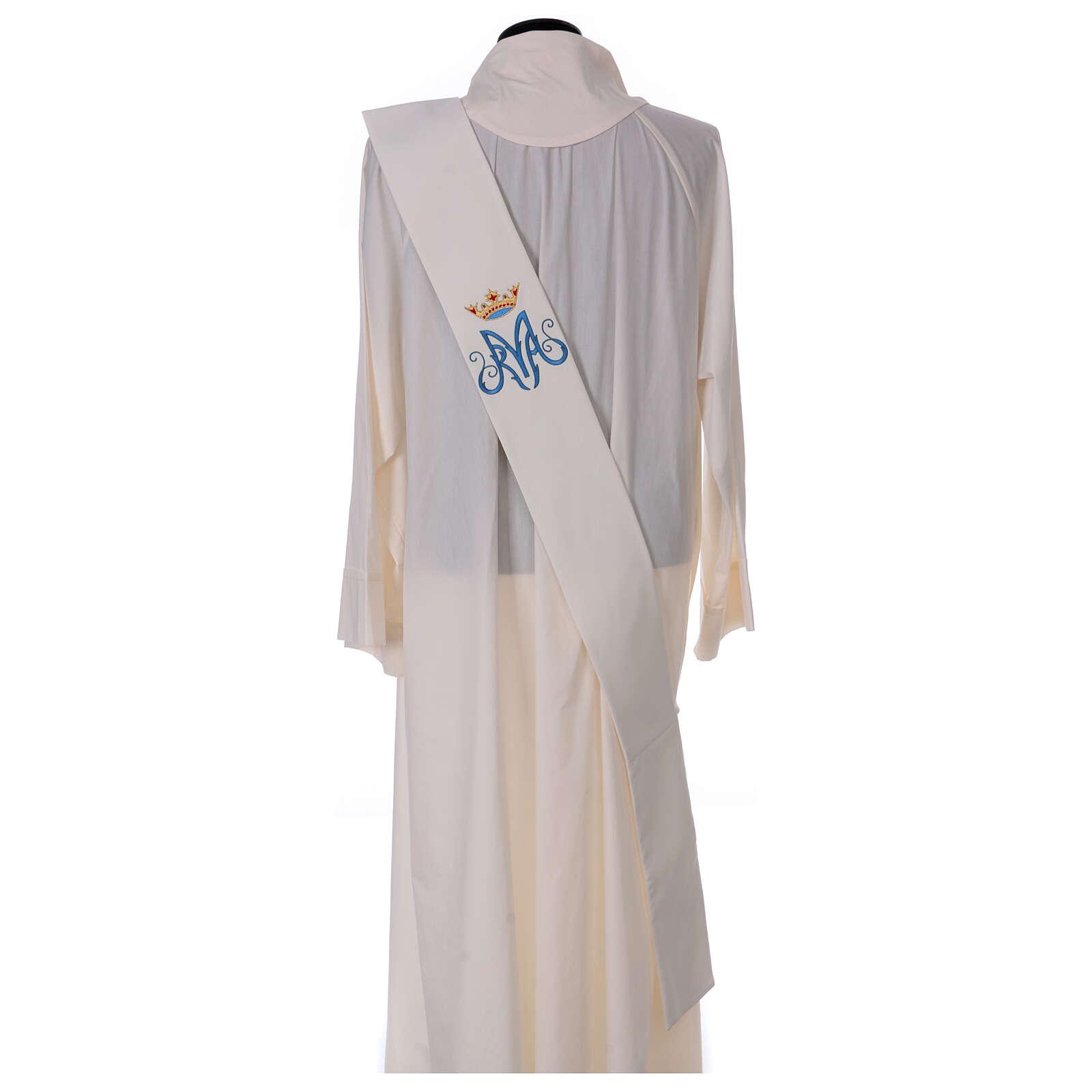 Estola diaconal cor de marfim símbolo mariano com coroa 80% poliéster 80% lã 4