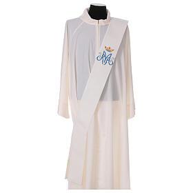 Estola diaconal cor de marfim símbolo mariano com coroa 80% poliéster 80% lã s1