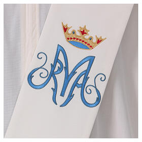 Estola diaconal cor de marfim símbolo mariano com coroa 80% poliéster 80% lã s2