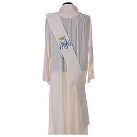 Estola diaconal cor de marfim símbolo mariano com coroa 80% poliéster 80% lã s4