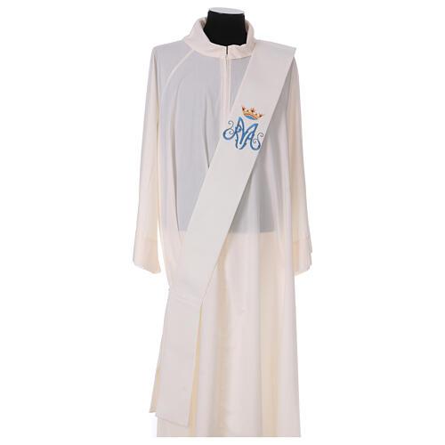 Estola diaconal cor de marfim símbolo mariano com coroa 80% poliéster 80% lã 1