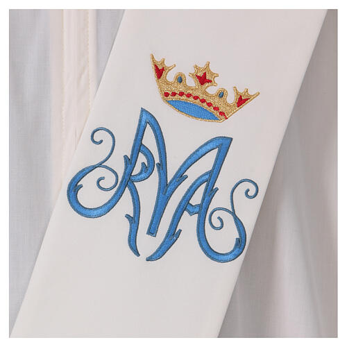 Estola diaconal cor de marfim símbolo mariano com coroa 80% poliéster 80% lã 2