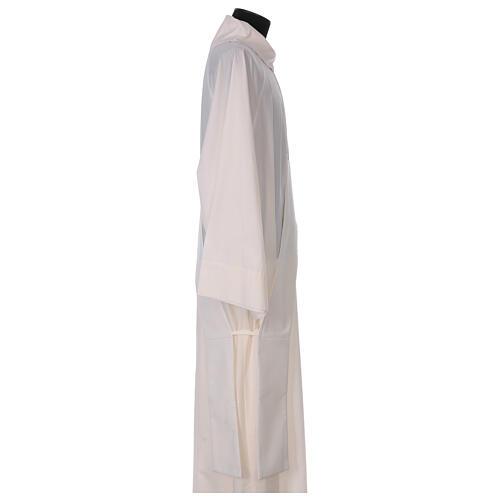 Estola diaconal cor de marfim símbolo mariano com coroa 80% poliéster 80% lã 3
