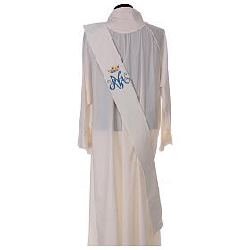 Ivory deacon stole Marian symbol with crown 80% polyester 20% wool s4
