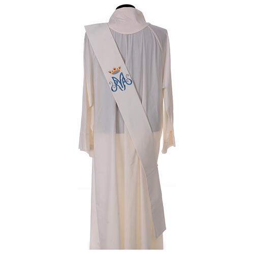 Ivory deacon stole Marian symbol with crown 80% polyester 20% wool 4