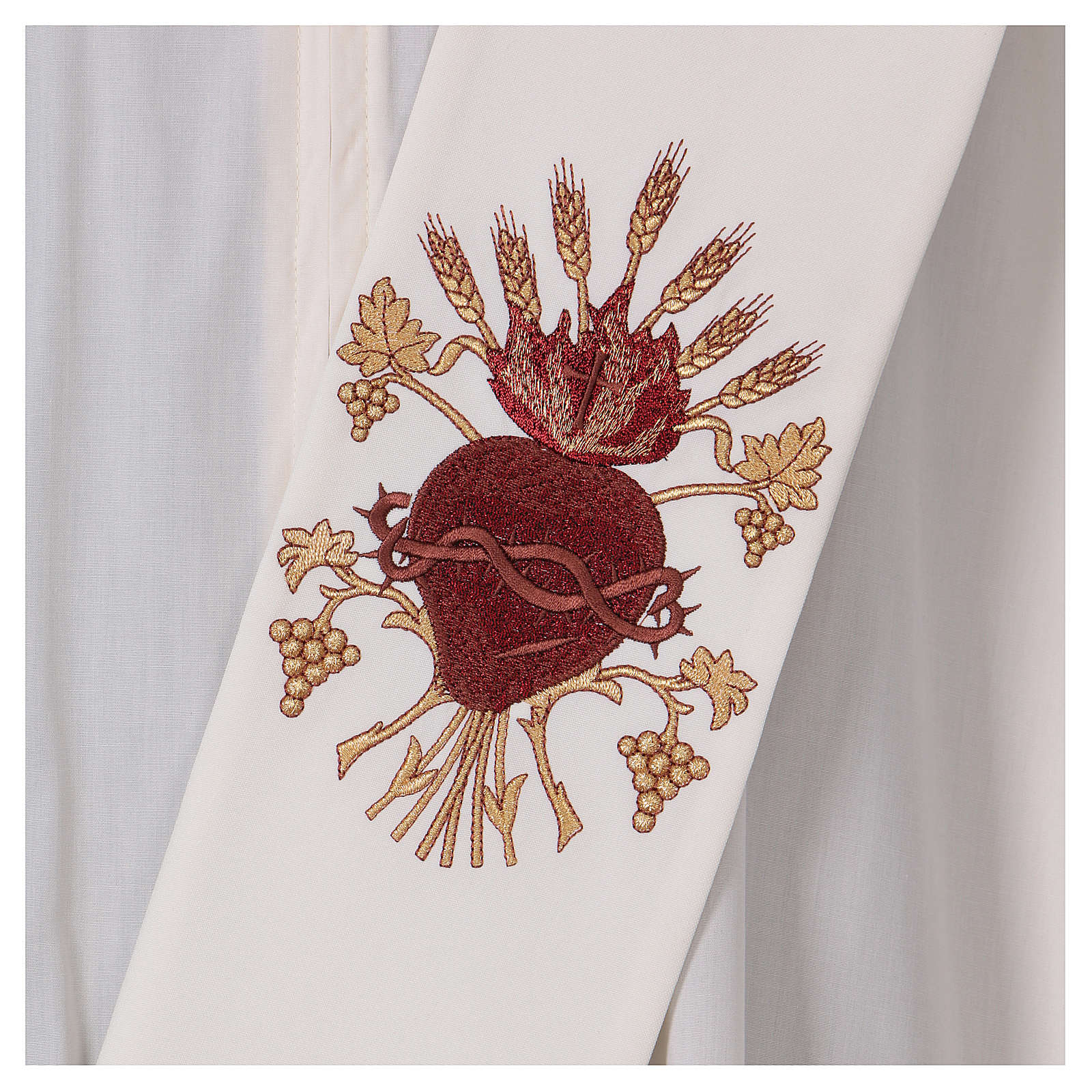 Diaconal stole, ivory colour with Sacred Heart decoration with wheat and grapes 4