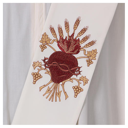 Diaconal stole, ivory colour with Sacred Heart decoration with wheat and grapes 2
