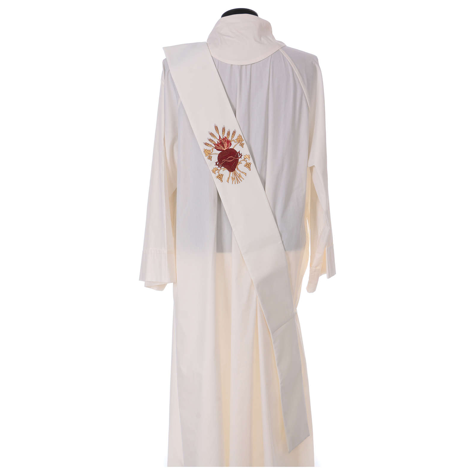Étole diaconale laine polyester ivoire sacré-coeur avec épis et grappes 4