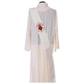 Étole diaconale laine polyester ivoire sacré-coeur avec épis et grappes s4