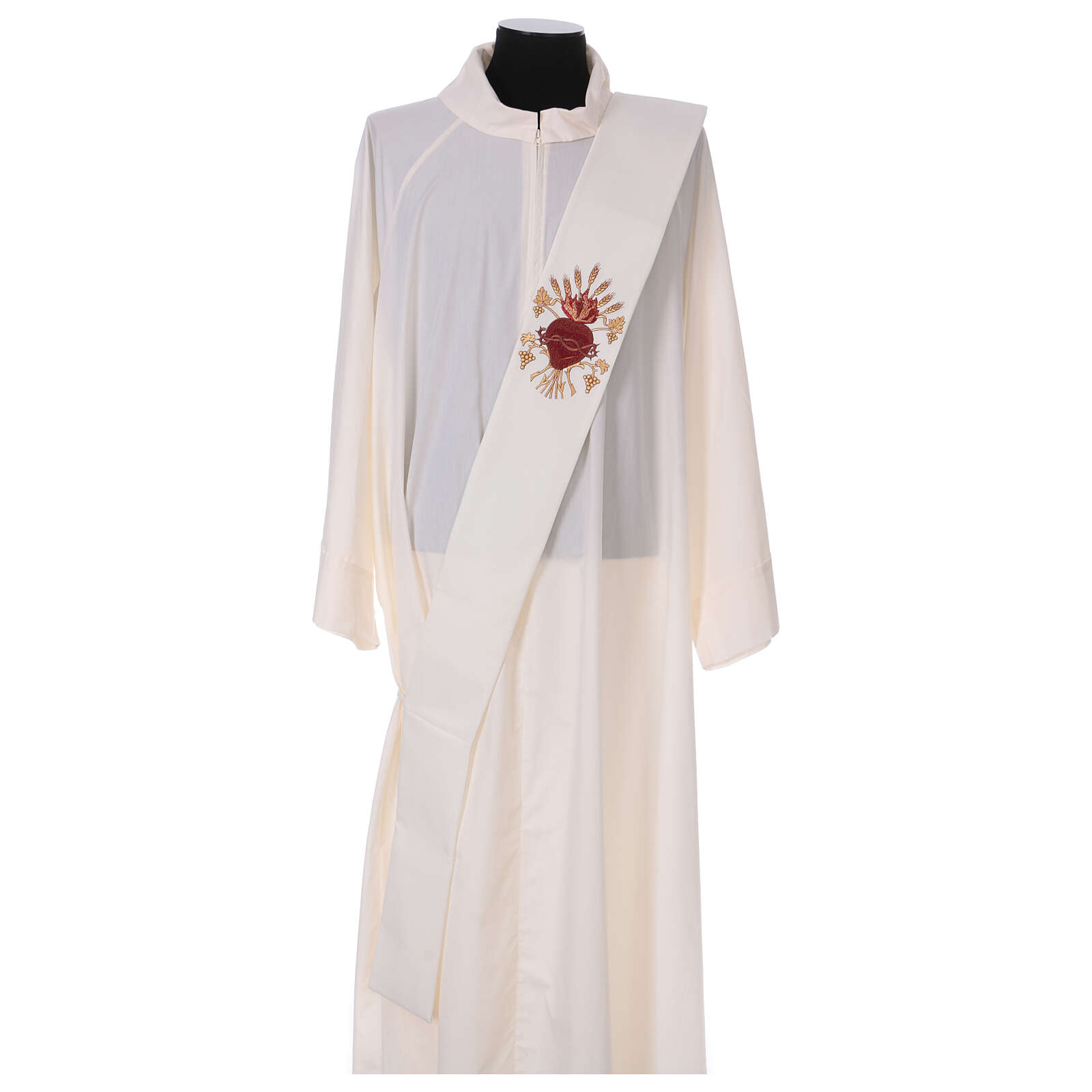 Estola diaconal lã poliéster cor de marfim sagrado coração com trigo e cachos uva 4