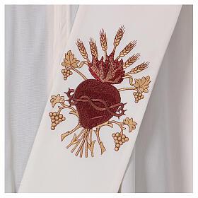 Estola diaconal lã poliéster cor de marfim sagrado coração com trigo e cachos uva s2