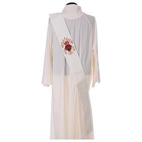 Estola diaconal lã poliéster cor de marfim sagrado coração com trigo e cachos uva s4