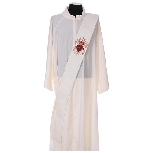 Estola diaconal lã poliéster cor de marfim sagrado coração com trigo e cachos uva 1