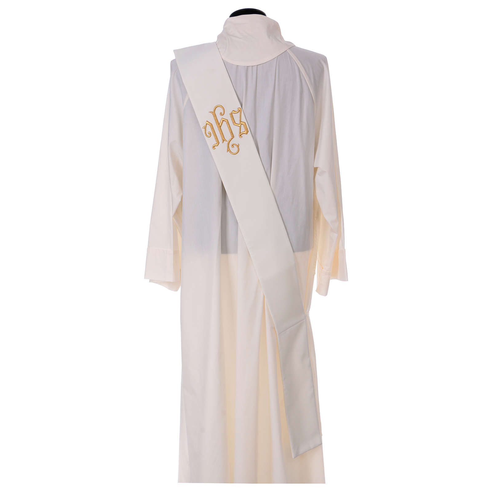 Diaconal stole, ivory colour with IHS decoration in relief 80% polyester 20% wool 4