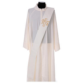 Diaconal stole, ivory colour with IHS decoration in relief 80% polyester 20% wool s1