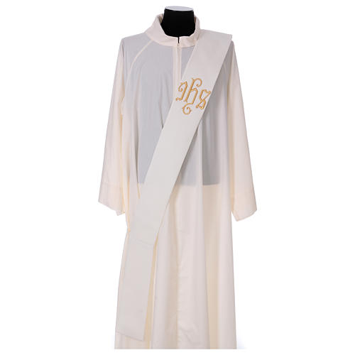 Diaconal stole, ivory colour with IHS decoration in relief 80% polyester 20% wool 1