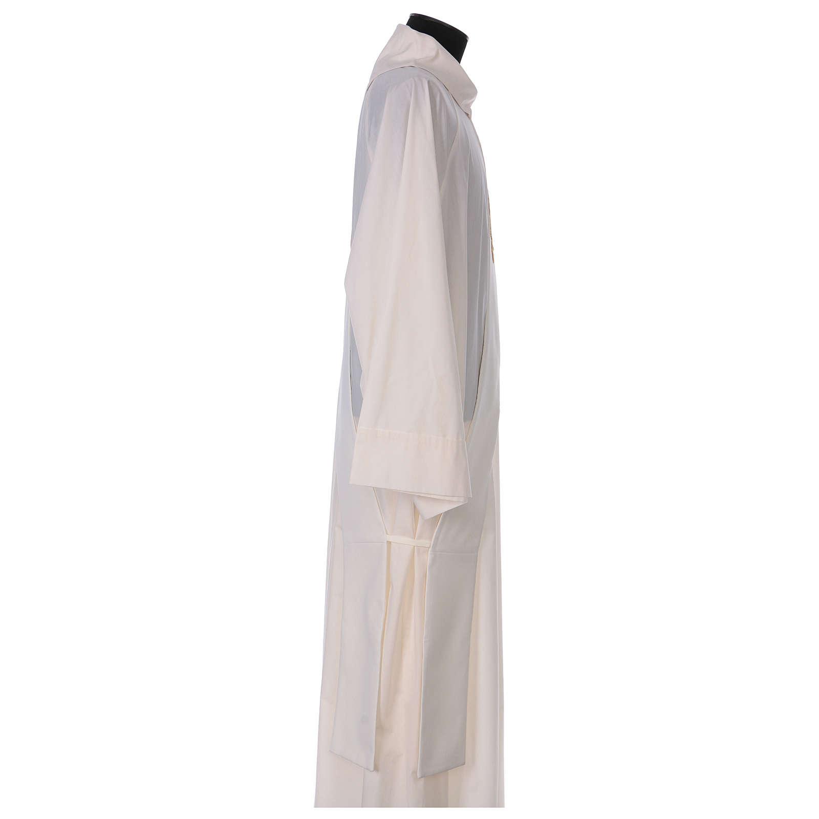 Étole diaconale ivoire IHS dorée en relief 80% polyester 20% laine 4