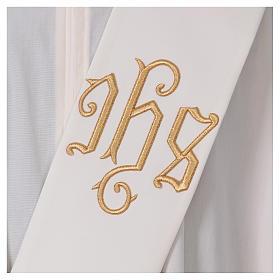 Étole diaconale ivoire IHS dorée en relief 80% polyester 20% laine s2
