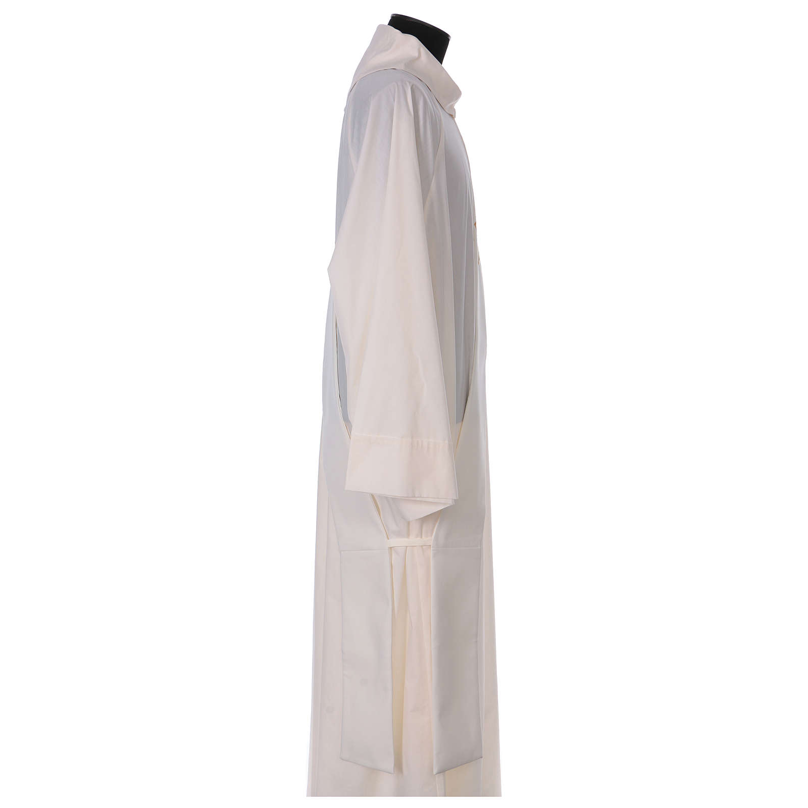 Diaconal stole, ivory colour with flower decoration and stones 80% polyester 20% wool 4