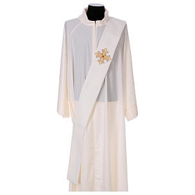 Diaconal stole, ivory colour with flower decoration and stones 80% polyester 20% wool s1