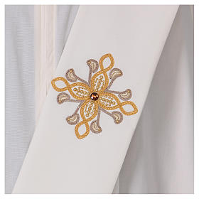 Diaconal stole, ivory colour with flower decoration and stones 80% polyester 20% wool s2