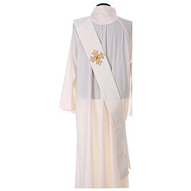 Diaconal stole, ivory colour with flower decoration and stones 80% polyester 20% wool s4