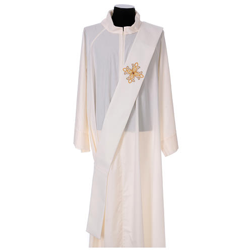 Diaconal stole, ivory colour with flower decoration and stones 80% polyester 20% wool 1