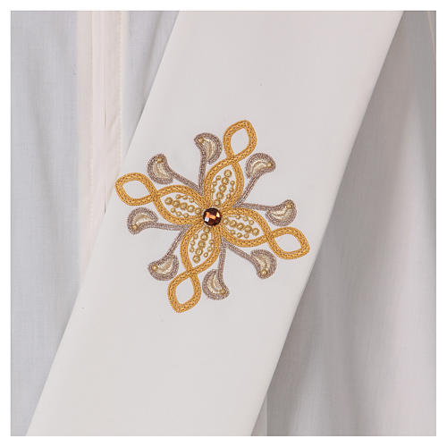 Diaconal stole, ivory colour with flower decoration and stones 80% polyester 20% wool 2