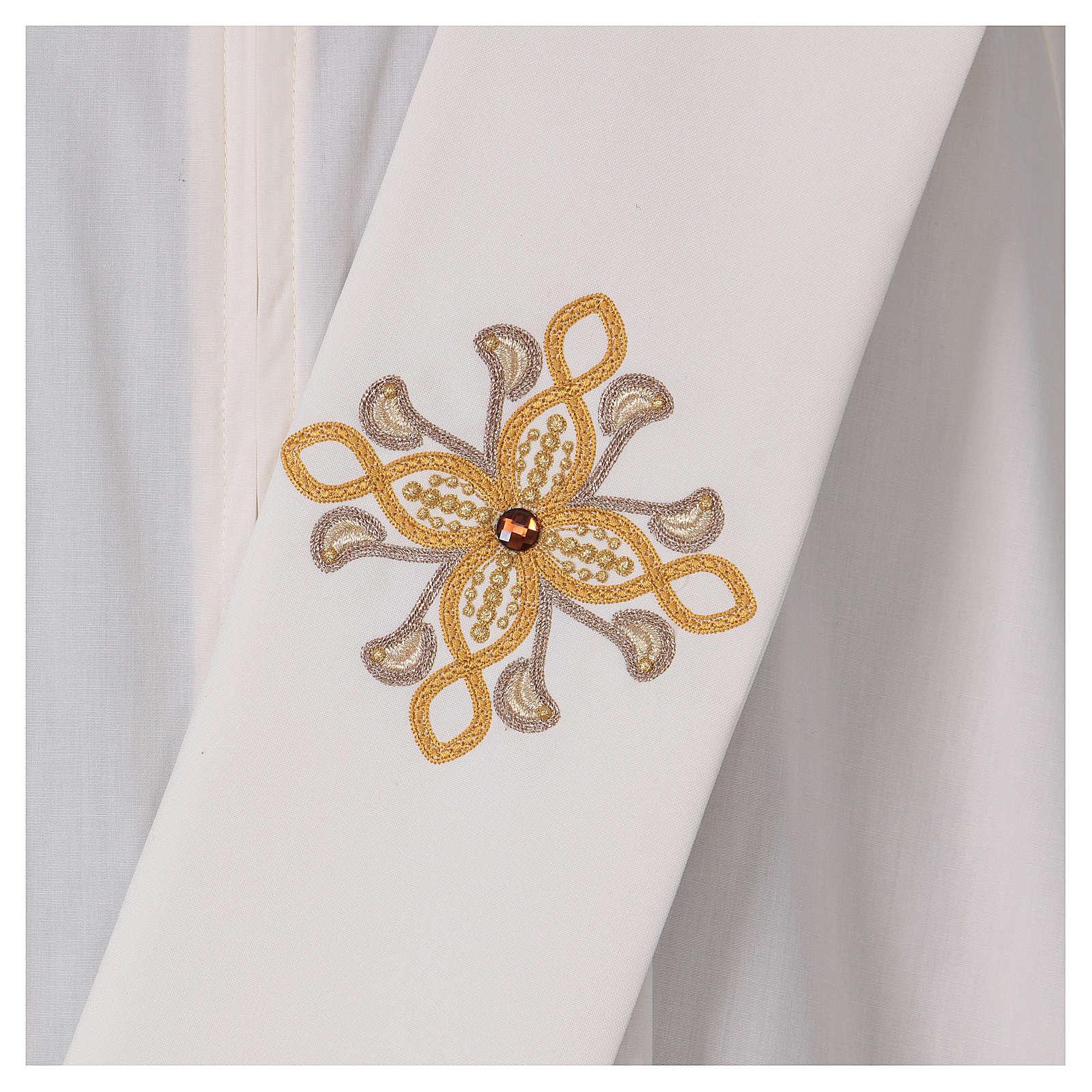Étole diaconale ivoire fleur avec applications 80% polyester 20% laine 4